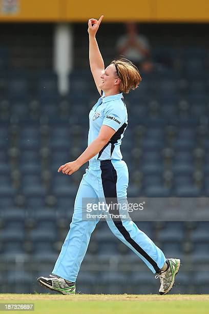 Sarah Aley of NSW celebrates after claiming the wicket of Sarah Elliot of Victoria during the WT20 match between New South Wales and Victoria at...