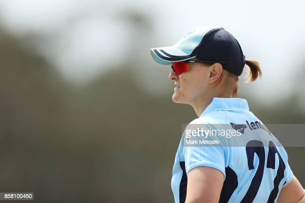 Sarah Aley of NSW looks on during the WNCL match between New South Wales and Queensland at Blacktown International Sportspark on October 6 2017 in...