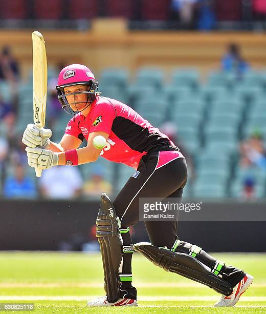 Sarah Aley of the Sixers bats during the WBBL match between the Strikers and Sixers at the Adelaide Oval on January 3 2017 in Adelaide Australia