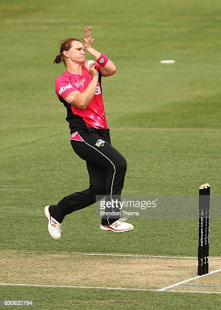 Sarah Aley of the Sixers bowls during the WBBL match between the Sixers and Hurricanes at Hurstville Oval on December 29 2016 in Sydney Australia