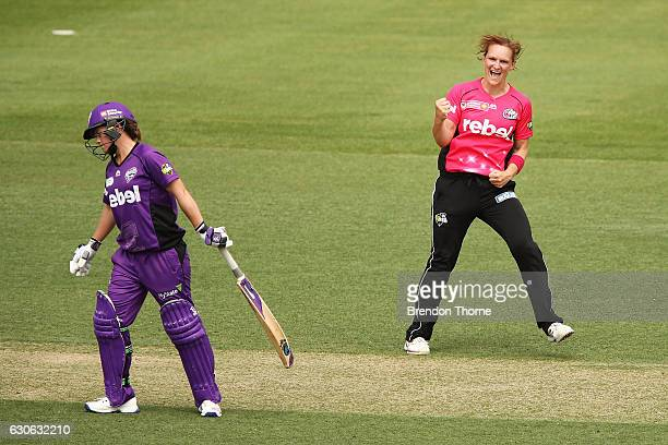 Sarah Aley of the Sixers celebrates after claiming the wicket of Erin Burns of the Hurricanes during the WBBL match between the Sixers and Hurricanes...