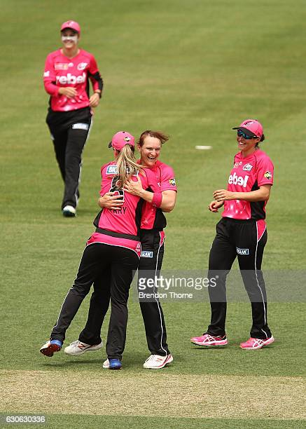 Sarah Aley of the Sixers celebrates after claiming the wicket of Georgia Redmayne of the Hurricanes during the WBBL match between the Sixers and...