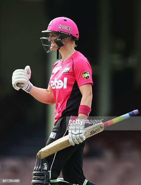 Sarah Aley of the Sixers celebrates after hitting the winning runs during the Women's Big Bash League match between the Sydney Sixers and the Perth...