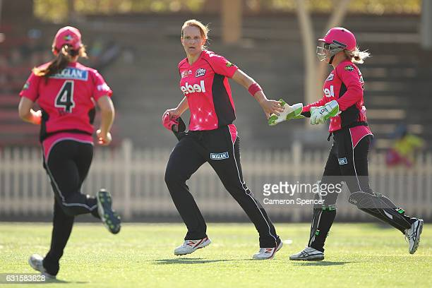 Sarah Aley of the Sixers celebrates dismissing Emma Thompson of the Hurricanes during the Women's Big Bash League match between the Hobart Hurricanes...