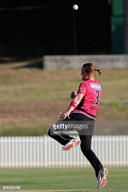 Sarah Aley of the Sixers celebrates dismissing Kirby Short of the Heat during the Women's Big Bash League match between the Brisbane Heat and the...