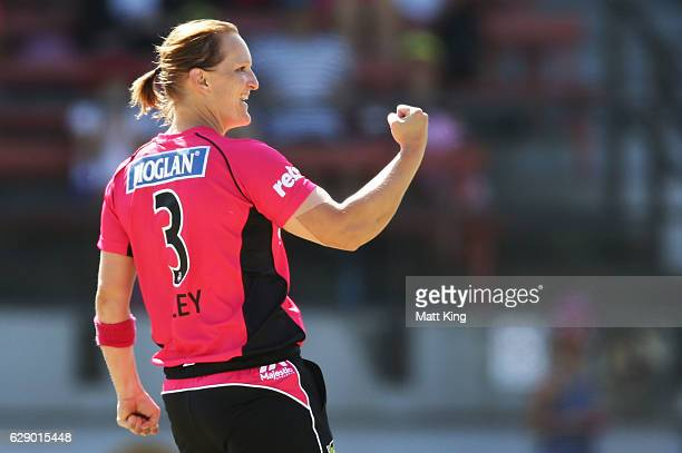 Sarah Aley of the Sixers celebrates taking the wicket of Kirby Short of the Heat during the Women's Big Bash League match between the Sydney Sixers...