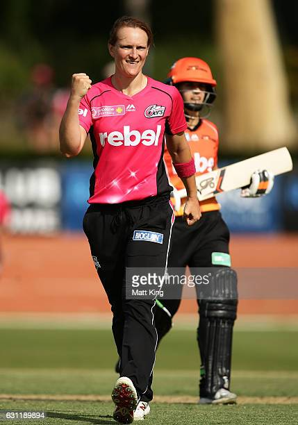Sarah Aley of the Sixers celebrates taking the wicket of Nicole Bolton of the Scorchers during the Women's Big Bash League match between the Perth...