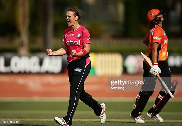 Sarah Aley of the Sixers celebrates taking the wicket of Suzie Bates of the Scorchers during the Women's Big Bash League match between the Perth...