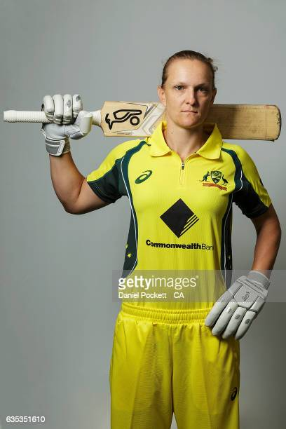 Sarah Aley poses during the Southern Stars Twenty20 Headshots Session on February 14 2017 in Melbourne Australia