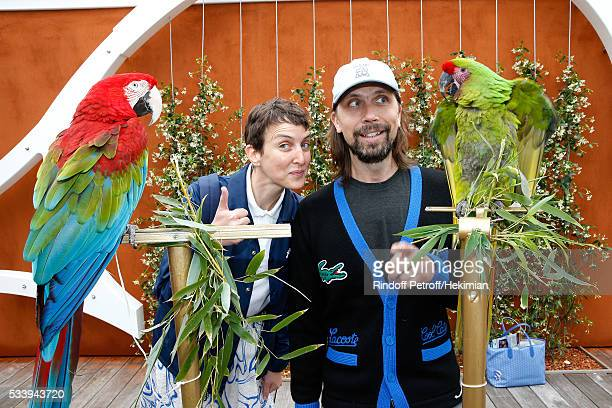 Sarah Andelman of Colette and DJ Pedro Winter attend the 2016 French Tennis Open Day Three at Roland Garros on May 24 2016 in Paris France