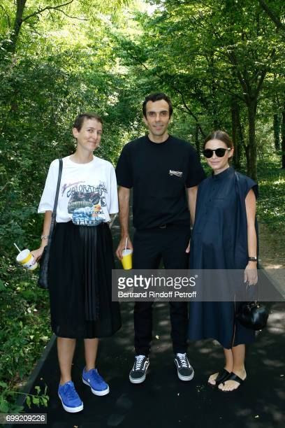 Sarah Andelman of Colette CEO Balenciaga Cedric Charbit and Miroslava Duma attend the Balenciaga Menswear Spring/Summer 2018 show as part of Paris...