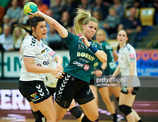 Sarah Andreassen of Viborg HK throws the ball during the Danish Boxer Dameligaen 1 semifinal match between Viborg HK and Team Esbjerg in Viborg...