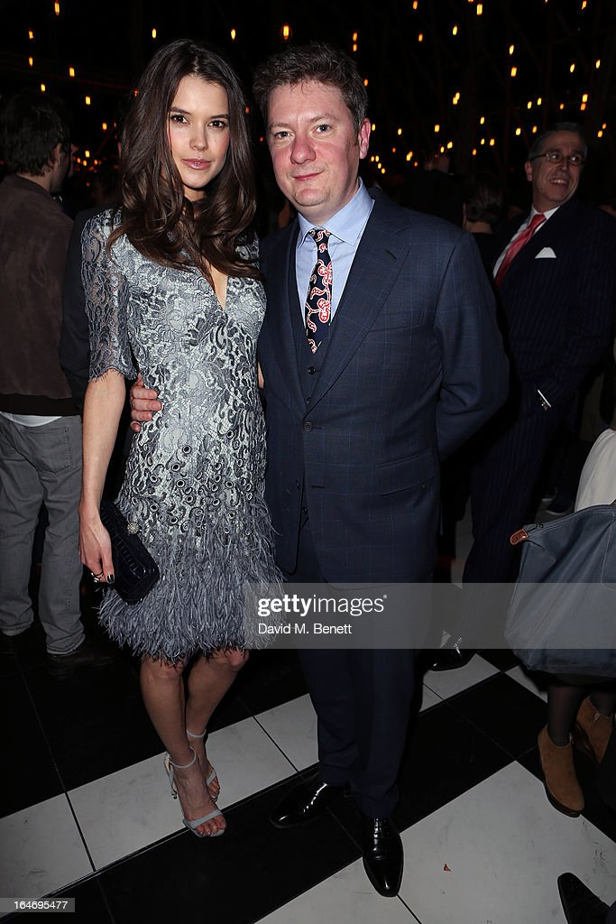 Sarah Ann Macklin and Esquire Editor-in-Chief Alex Bilmes attend Esquire's 'The Big Black Book' launch party At Sushi Samba on March 26, 2013 in London England.