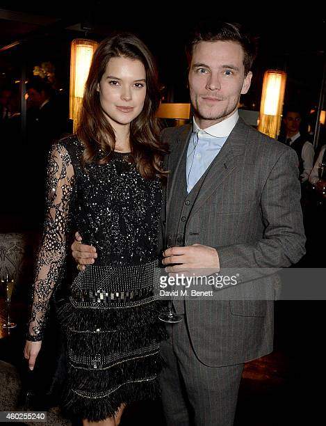 Sarah Ann Macklin and guest attend a private dinner celebrating the opening of the OMEGA Oxford Street boutique at Aqua Shard on December 10 2014 in...