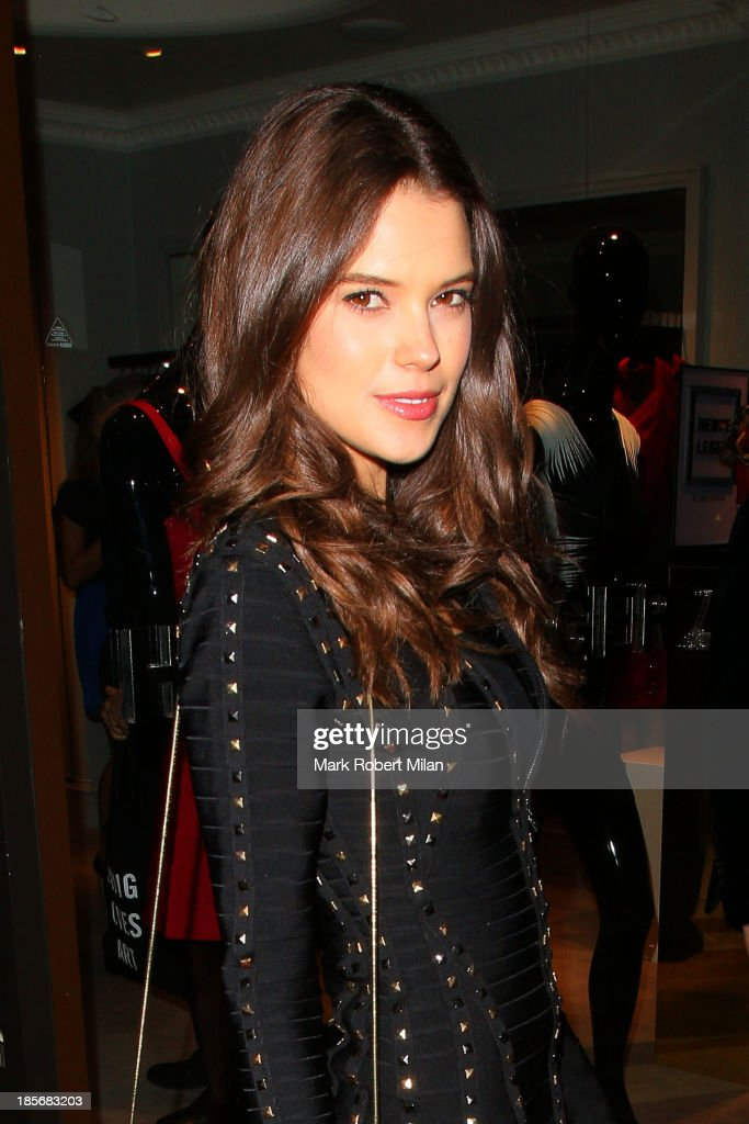 Sarah Ann Macklin attending the Herve Leger by Max Azria Barbie doll launch on October 23, 2013 in London, England.