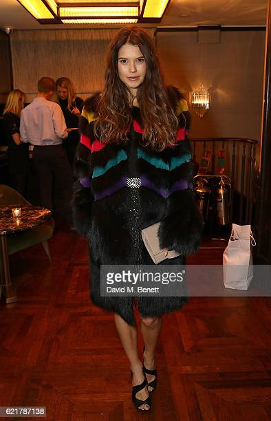 Sarah Ann Macklin attends the launch of The Rupert Sanderson Champagne Slipper For 34 Mayfair at 34 Mayfair on November 8 2016 in London England