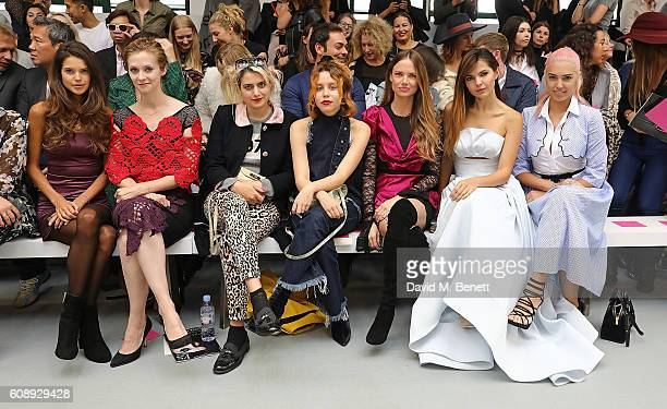 Sarah Ann Macklin guest Camille Benett Billie JD Porter Alicia Rountree Doina Ciobanu and Amber Le Bon attend the Emilio De La Morena show during...