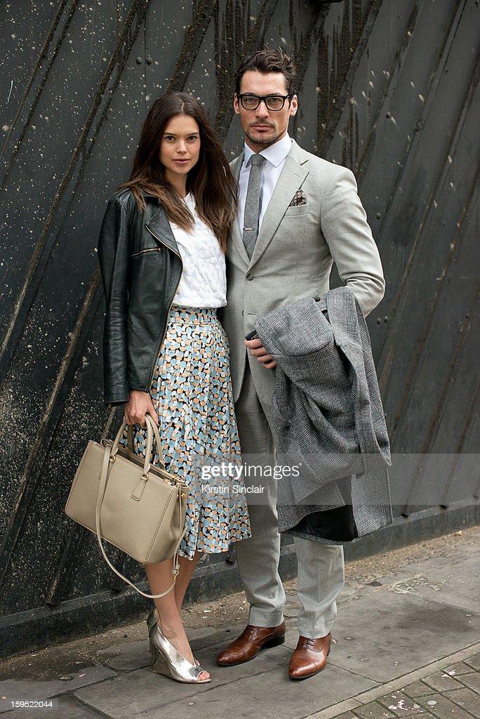 Sarah Ann Macklin model with David Gandy model on day 3 of London Mens Fashion Week Autumn/Winter 2013, on January 09, 2013 in London, England.