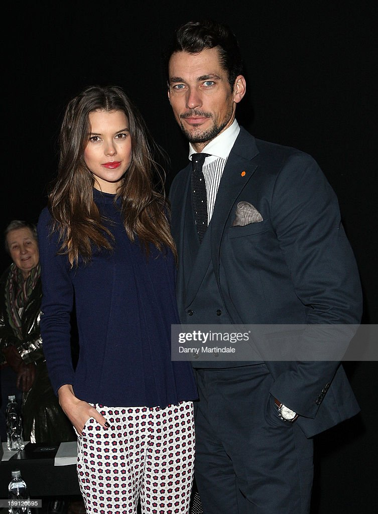 Sarah Anne Macklin and David Gandy attend the Oliver Spencer show at the London Collections: MEN AW13 at The Old Sorting Office on January 8, 2013 in London, England.