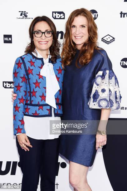 Sarah Aubrey and President of TNT and TBS Productions Business Affairs Sandra Dewey attends the Turner Upfront 2017 arrivals on the red carpet at The...
