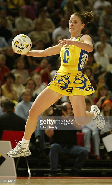 Sarah Barrett of the Swifts in action during the Commonwealth Bank Trophy between the Sydney Swifts and the Melbourne Phoenix May 30 2003 at the...