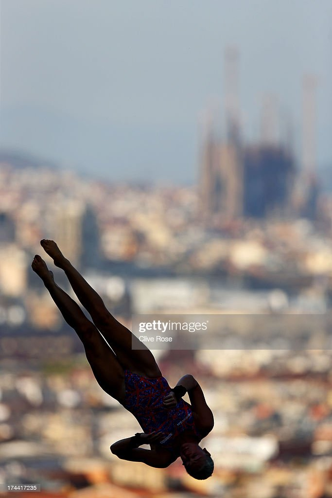 <a gi-track='captionPersonalityLinkClicked' href=/galleries/search?phrase=Sarah+Barrow&family=editorial&specificpeople=734523 ng-click='$event.stopPropagation()'>Sarah Barrow</a> of Great Britain competes in the Women's 10m Platform Diving final on day six of the 15th FINA World Championships at Piscina Municipal de Montjuic on July 25, 2013 in Barcelona, Spain.