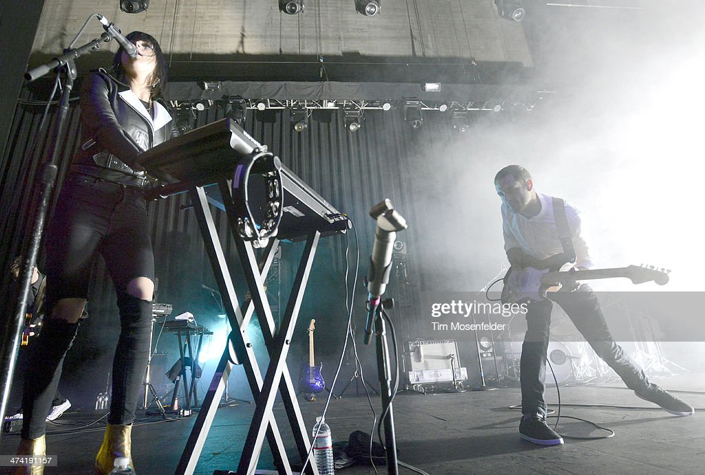 Sarah Barthel and Josh Carter of Phantogram perform in support of the band's 'Voices' release at The Fox Theatre on February 20 2014 in Oakland...