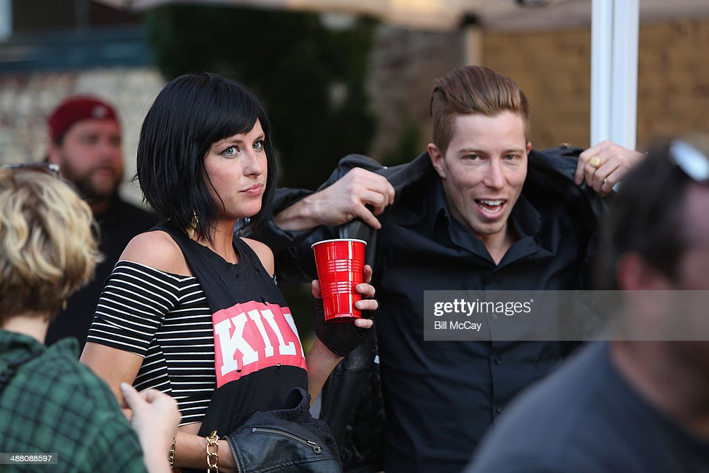 Sarah Barthel of Phantogram and Shaun White backstage during the 5th Annual 1045 Summer Block Party at the Piazza At Schmidt's May 3 2014 in...