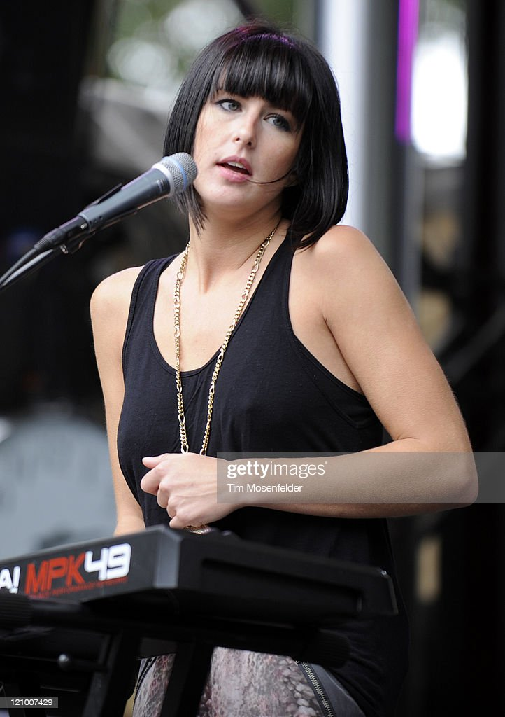Sarah Barthel of Phantogram performs at Day One of the Outside Lands Music Art Festival at Golden Gate Park on August 12 2011 in San Francisco...