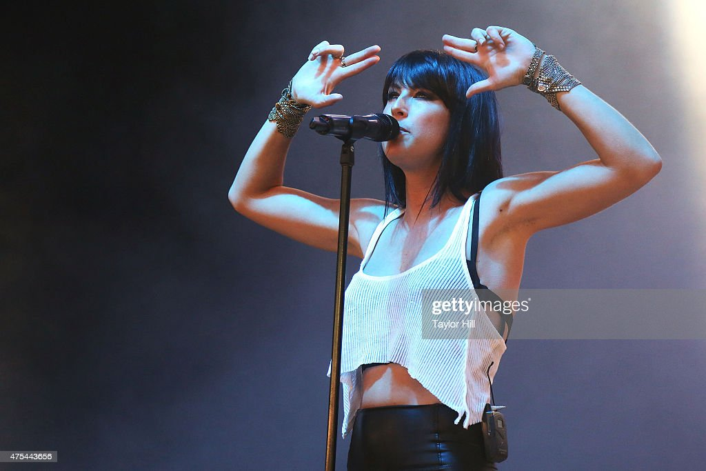 Sarah Barthel of Phantogram performs during the 2015 Sweetlife Festival at Merriweather Post Pavillion on May 31 2015 in Columbia Maryland