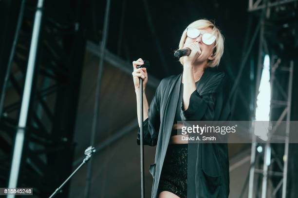 Sarah Barthel of Phantogram performs during the 2017 Sloss Music and Arts Festival at Sloss Furnaces on July 16 2017 in Birmingham Alabama