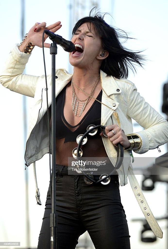 Sarah Barthel of Phantogram performs during the Sasquatch Music Festival at the Gorge Amphitheater on May 23 2014 in George Washington