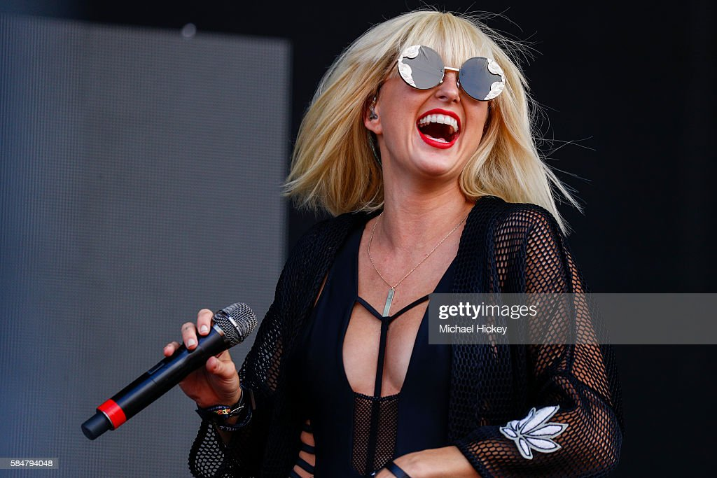 Sarah Barthel of Phantogram performs on day three of Lollapalooza on July 30 2016 in Chicago Illinois