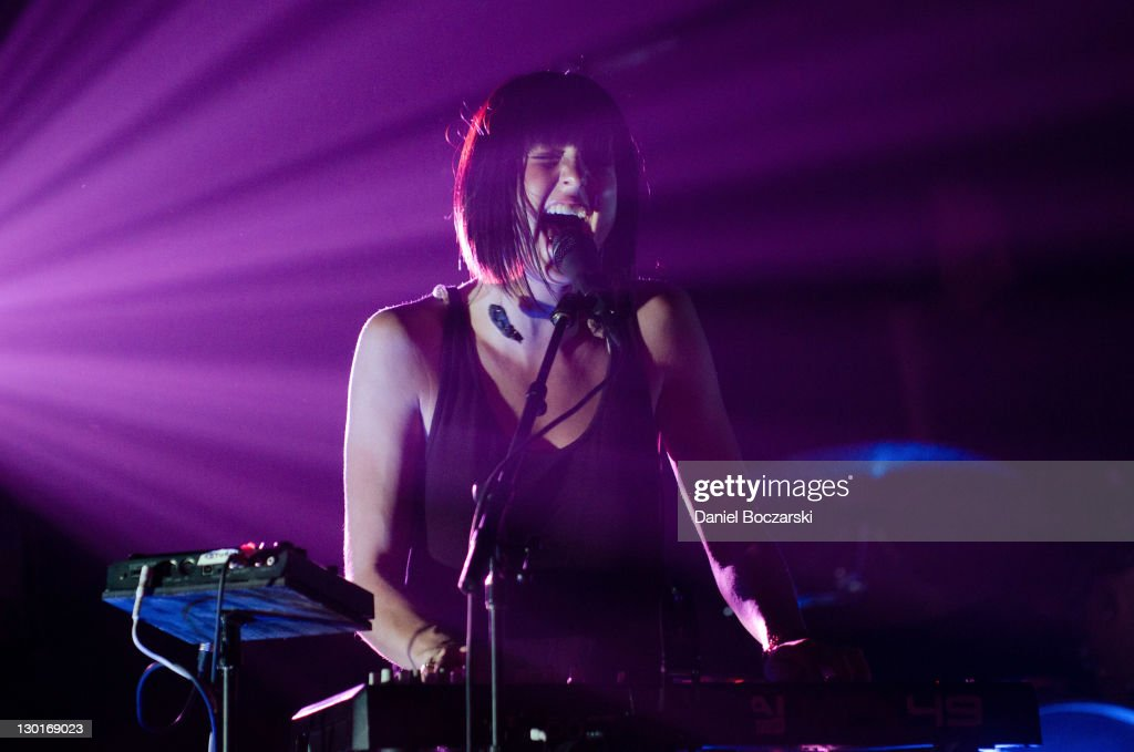 Sarah Barthel of Phantogram performs on stage at Metro on October 23 2011 in Chicago United States