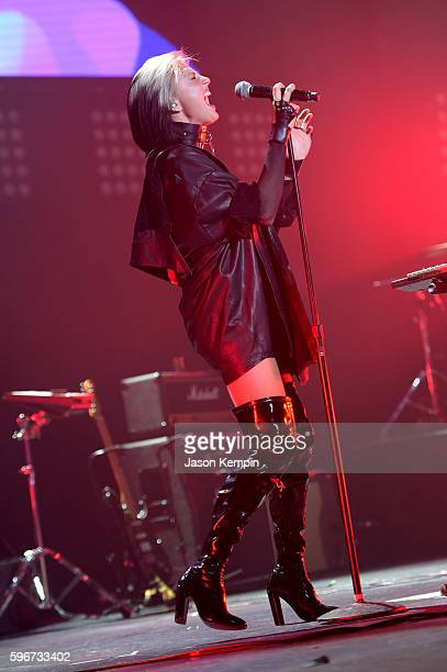 Sarah Barthel of Phantogram performs onstage at the MTV Pre VMA concert hosted by Taco Bell at Terminal 5 on August 27 2016 in New York City