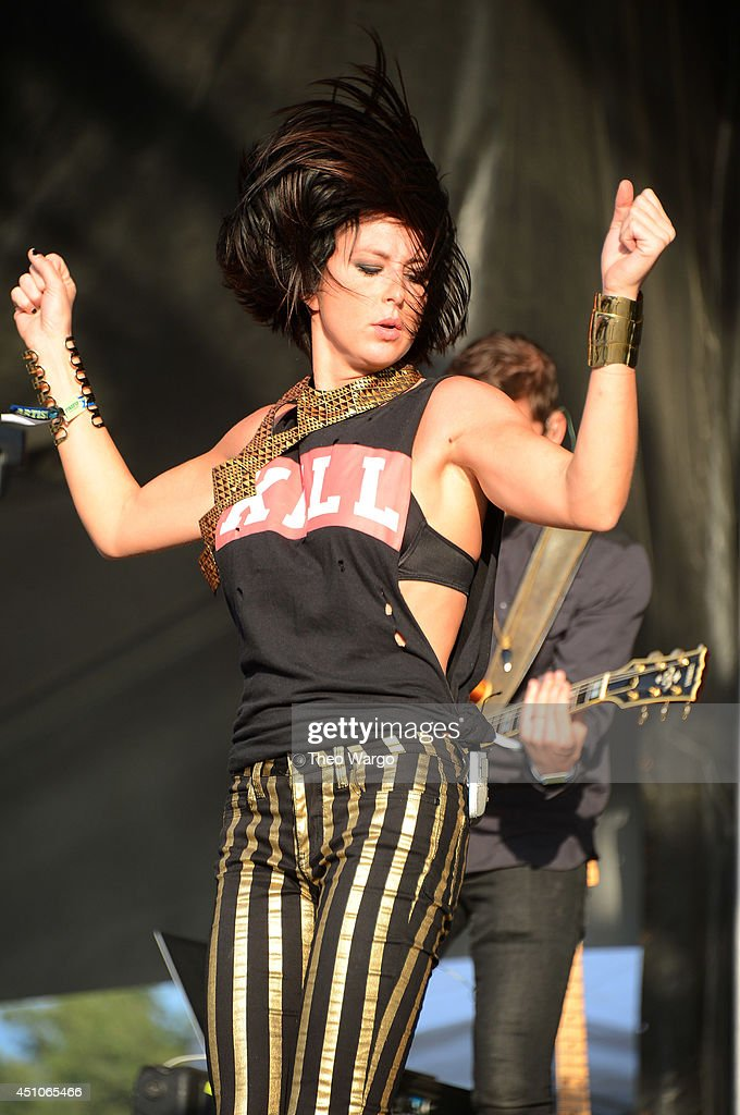 Sarah Barthel of Phantogram performs onstage during day 4 of the Firefly Music Festival on June 22 2014 in Dover Delaware