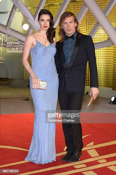 Sarah Barzyk and Christophe Guillarme arrive on the red carpet for the evening tribute to Viggo Mortensen during the 14th Marrakech International...