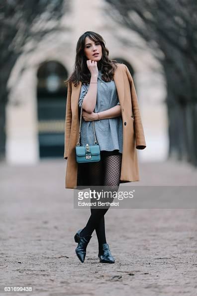 Sarah Benziane fashion and life style influencer from the blog Les Colonnes de Sarah is wearing a Zara brown long coat a Zara gray dress Zara black...