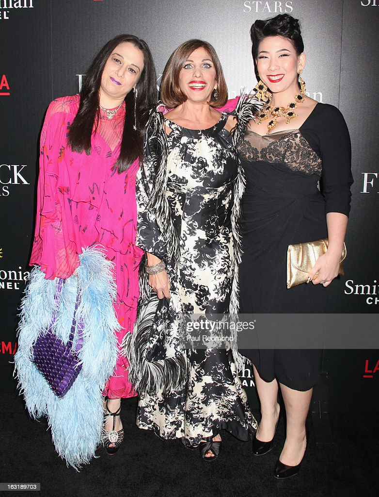 Sarah Bergman, Doris Raymond and Shelly Lyn Erdmann arrive at 'L.A.Frock Stars' - Los Angeles Screening at LACMA on March 5, 2013 in Los Angeles, California.