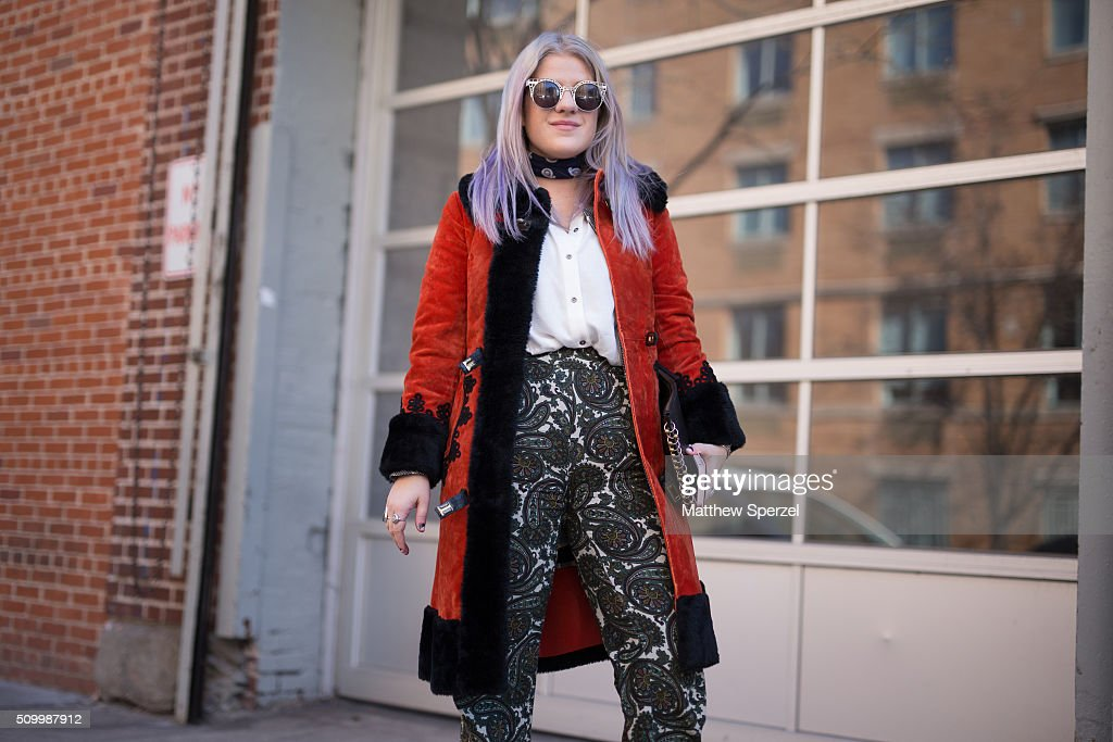 Sarah Bertness is seen at Jill Stuart wearing Quay glasses, vintage coat, Free People shirt, Zara pants, Topshop shoes, Zimmerman clutch during New York Fashion Week: Women's Fall/Winter 2016 on February 13, 2016 in New York City.
