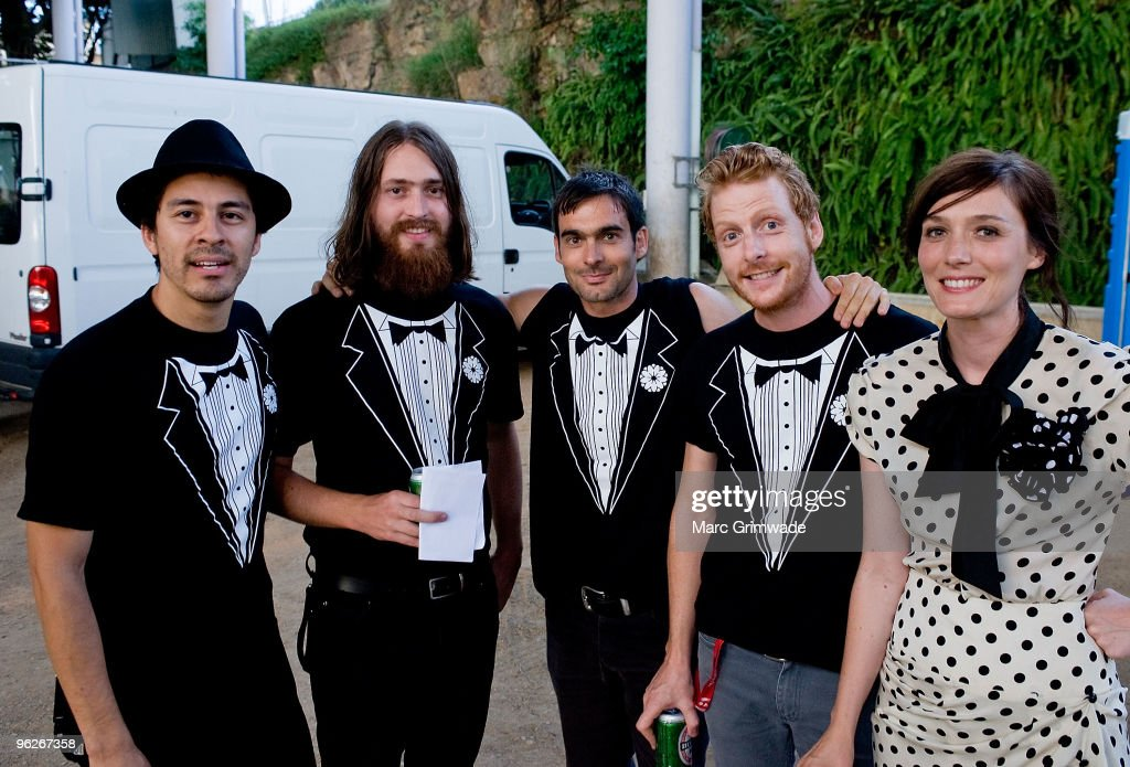 Sarah Blasko and band backstage at the Brisbane leg of the Laneway Festival in Fortitude Valley on January 29 2010 in Brisbane Australia