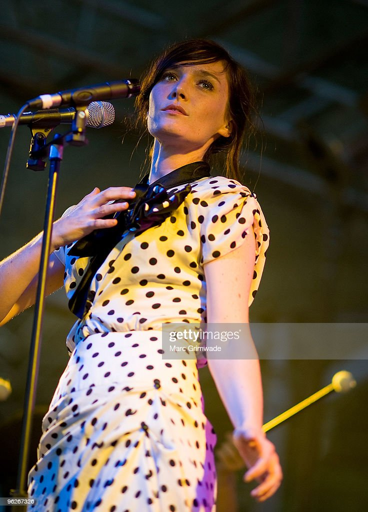 Sarah Blasko performs on stage at the Brisbane leg of the Laneway Festival in Fortitude Valley on January 29 2010 in Brisbane Australia