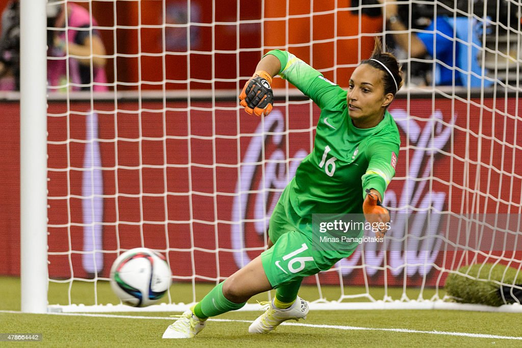 Sarah Bouhaddi of France allows a goal on a penalty kick during the 2015 FIFA Women's World Cup quarter final match against Germany at Olympic...
