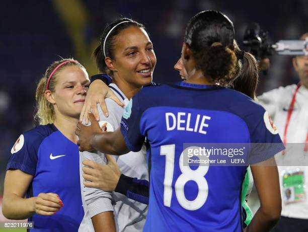 Sarah Bouhaddi of France seems to be consoled by her team mates after the match during the UEFA Women's Euro 2017 Group C match between Switzerland...