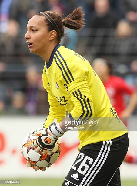 Sarah Bouhaddi of Lyonnais looks on during the second UEFA Women's Champions League semi final match between Turbine Potsdam and Olympique Lyonnais...