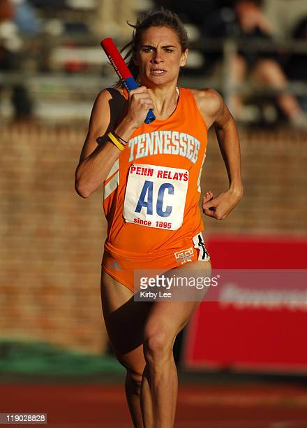 Sarah Bowman runs 800meter anchor on Tennessee's victorious women's sprint medley relay that timed 34516 in the 112th Penn Relays at the University...