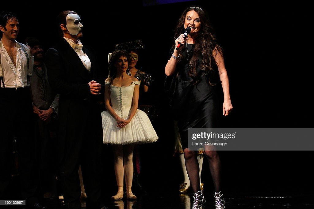 Sarah Brightman and Hugh Panaro and the cast attend 'The Phantom Of The Opera' Broadway 25th Anniversary at Majestic Theatre on January 26, 2013 in New York, New York.