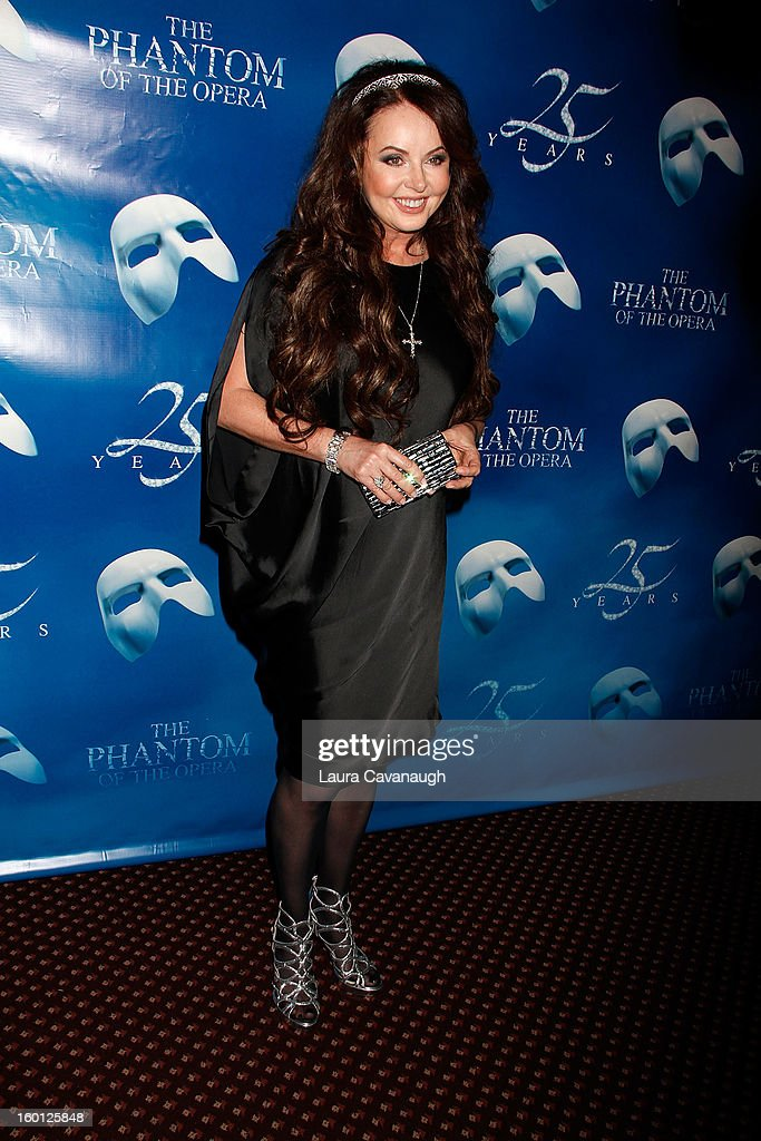 <a gi-track='captionPersonalityLinkClicked' href=/galleries/search?phrase=Sarah+Brightman&family=editorial&specificpeople=208636 ng-click='$event.stopPropagation()'>Sarah Brightman</a> attends 'The Phantom Of The Opera' Broadway 25th Anniversary at Majestic Theatre on January 26, 2013 in New York, New York.