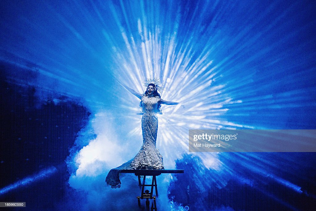 <a gi-track='captionPersonalityLinkClicked' href=/galleries/search?phrase=Sarah+Brightman&family=editorial&specificpeople=208636 ng-click='$event.stopPropagation()'>Sarah Brightman</a> performs on stage at the Paramount Theatre on October 26, 2013 in Seattle, Washington.