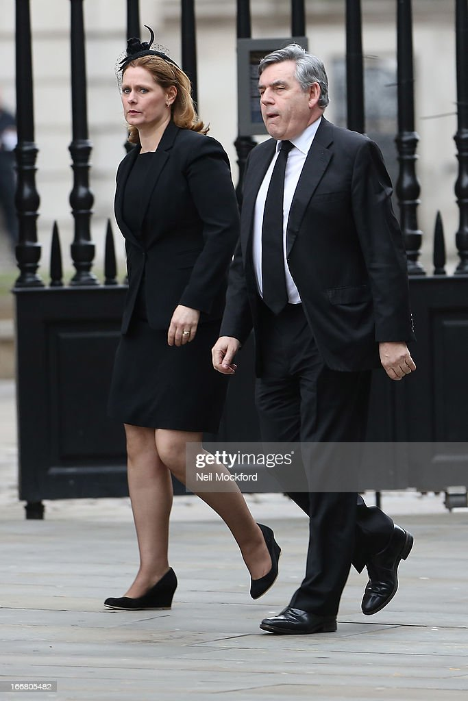 Sarah Brown and <a gi-track='captionPersonalityLinkClicked' href=/galleries/search?phrase=Gordon+Brown&family=editorial&specificpeople=158992 ng-click='$event.stopPropagation()'>Gordon Brown</a> seen attending Baroness Thatcher's Funeral at St Paul's Cathedral on April 17, 2013 in London, England.